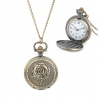 Vintage Rose Pattern Zinc Alloy Chain Analog Quartz Pocket Watch - Antique Brass