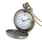 41010093 Vintage Rose Pattern Zinc Alloy Chain Analog Quartz Pocket Watch - Antique Brass