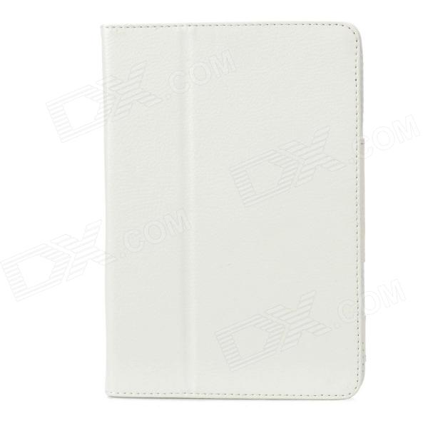 Lichee Pattern Flip-Up Open Protective PU Leather Folding Case for Ipad MINI - White