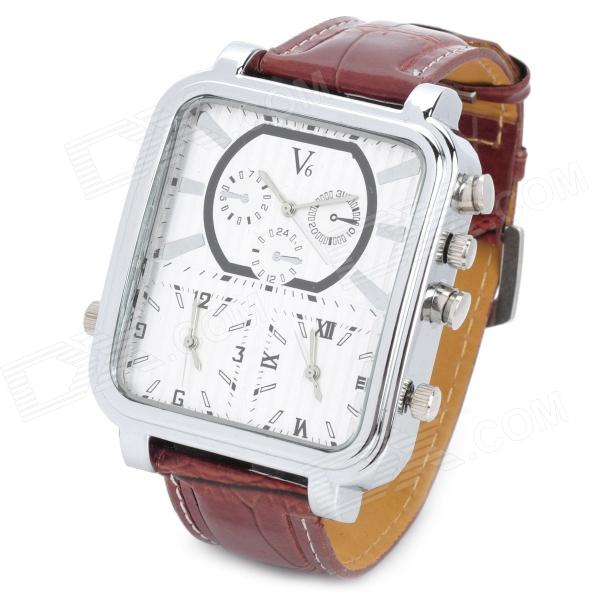 V6 Men's PU Leather Band Analog Quartz Wrist Watch - Brown (1 x 377) s012 stylish shiny crystal inlaid leaf patterned analog quartz wrist watch w pu band 1 x 377