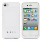 Rechargeable 1900mAh External Power Battery Back Case for iPhone 4 / 4S - White
