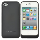 Rechargeable 1900mAh External Power Battery Back Case for iPhone 4 / 4S - Black