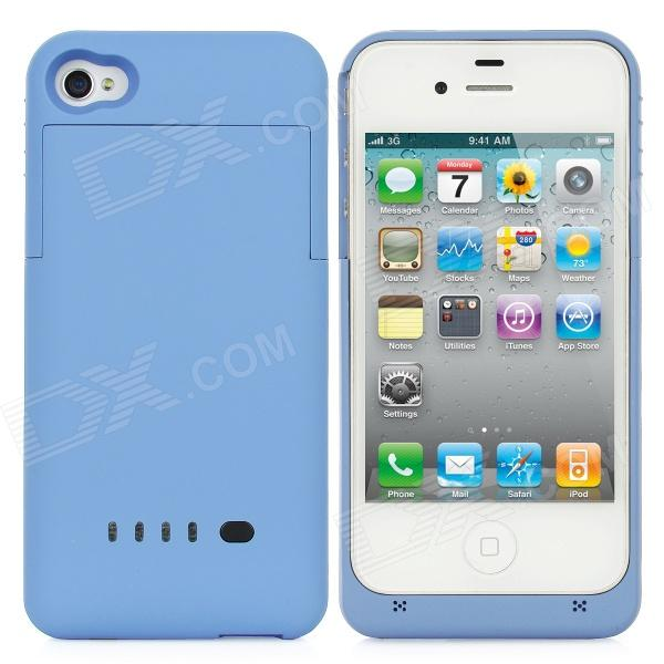 Rechargeable 1900mAh External Power Battery Case für iPhone 4 / 4S - Blau