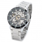 Eyki 8495 Mechanische Water Resistant Armbanduhr w / Glow-in-the-Dark Pointer - Silber + Schwarz
