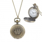 41010091 Royal Crown Pattern Zinc Alloy Chain Analog Quartz Pocket Watch - Antique Brass (1 x 377)