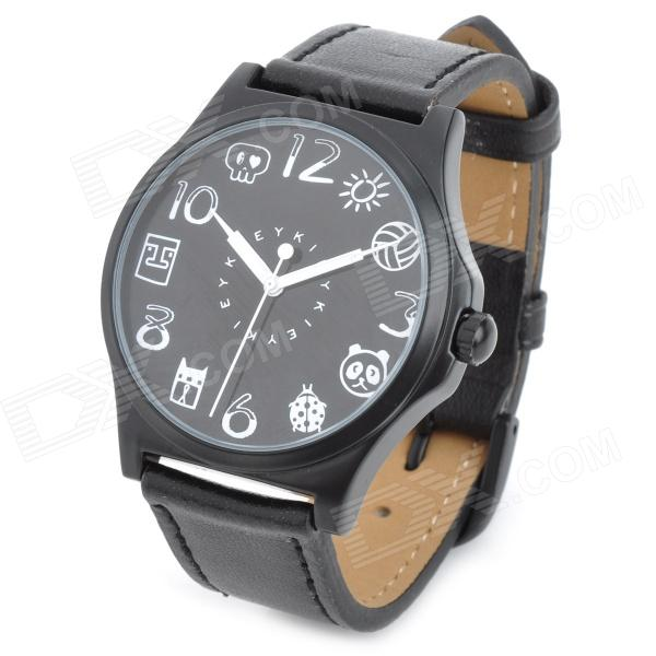 EYKI W8441G-B PU Band Analog Quartz Wrist Watch - Black (1 x LR66)