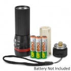 ForestTiger SLH-H606 3W LED 200lm 3-Mode White Light Zooming Flashlight - Black + Red (3 x AAA)
