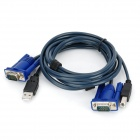 Dual-Head VGA + USB to VGA + Printer Connector KVM Cable - Dark Grey + Blue (130cm)