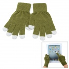 Fashion Capacitive Screen Full Fingers Touch Gloves - Olivedrab + Grey (Pair / Free Size)