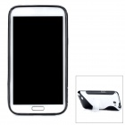 """S""-Style TPU + Plastic Back Case w/ Stand for Samsung Galaxy Note 2 / N7100 - Black + Transparent"
