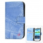 Protective Jeans Pattern Leather Flip-Open Case w/ Card Slots for Samsung i9300 - Blue