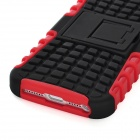 Protective Detachable PC + Silicone Back Case w/ Stand Holder for Iphone 5 - Red + Black