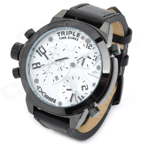 SPEATAK 60145G-6 Men's 3-Quartz Movement Genuine Leather Band Watch- Black + White (3 x CR2026)