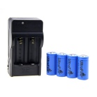 US Plug UltraFire 16340 Battery Charger w/ 4 x 3.6V &quot;1000mAh&quot; 16340 Batteries - Black
