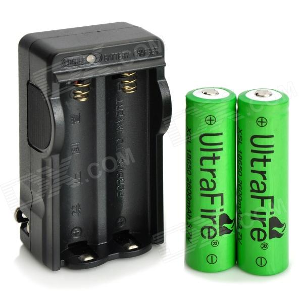 US Plug UltraFire 18650 Battery Charger w/ 2 x 3.7V 2600mAh 18650 Batteries - Black liitokala 2pcs li ion 18650 3 7v 2600mah batteries rechargeable battery with portable battery box and 2 slots usb smart charger