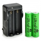 US Plug UltraFire 18650 Battery Charger w/ 2 x 3.7V 2600mAh 18650 Batteries - Black
