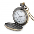 41010102 Butterfly Pattern Zinc Alloy Chain Analog Quartz Pocket Watch - Antique Brass (1 x 377)