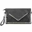 Envelope Style PU + Metal Handbag Shoulder Bag w/ Strap - Black