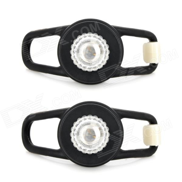 Waterproof 0.05W 5lm LED RGB Light Tie-On Motorcycle Safety Light - Black (2 PCS / 2 x CR2032)