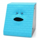 Funny Face Style Money Swallowing Coin Bank - Blue (2 x AA)