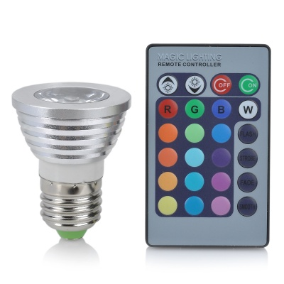 E27 3W 16-Color LED Decorative Lamp w/ Remote Control - Silver + White