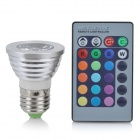 E27 3W 1-LED 16-Color Decorative Lamp w/ Remote Control - Silver + White