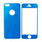 Protective Aluminum Alloy Front + Back Skin Protector Stickers Set for Iphone 5 - Blue