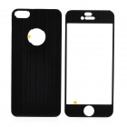 Protective Aluminum Alloy Front + Back Skin Protector Stickers Set for Iphone 5 - Black