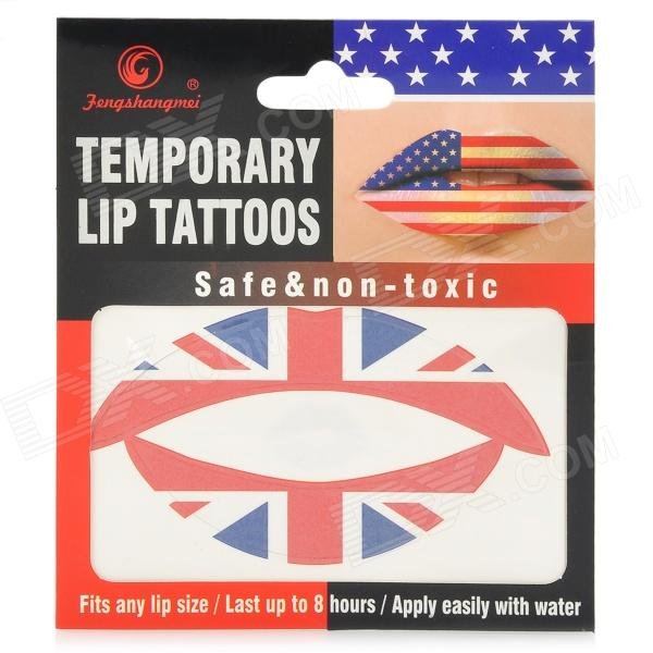 YG-1 Fashionable the Union Jack Pattern Temporary Lip Tattoos Stickers - Red + Blue + White бодиарт other gold placement temporary tattoos asos