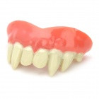 Adult Scary Full Classic Vampire Dentures Fangs 8-Teeth for Halloween - Red + White