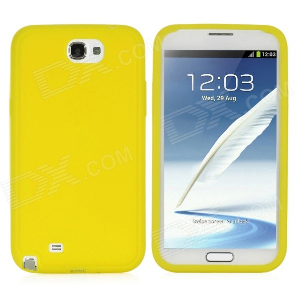Protective Silicone Back Case for Samsung Galaxy Note 2 / N7100 - Yellow nillkin protective plastic back case w screen protector for samsung galaxy note 2 n7100 yellow