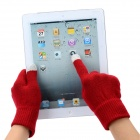 Fashion Capacitive Screen Full Fingers Touch Gloves - Red + Grey (Pair / Free Size)