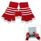 Fashion Stripes Pattern Capacitive Screen Full Fingers Touch Gloves - Red + Grey (Pair / Free Size)