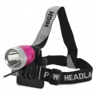 600lm 3-Mode White Flat Head Bike Light Headlamp - Deep Pink + Silver (4 x 18650)