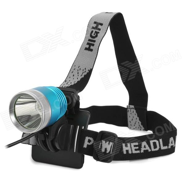600lm 3-Mode White Flat Head Bike Light Headlamp - Blue + Silver (4 x 18650) hot sale 3x cree xml t6 led headlamp bike light 5000 lumen 18650 led head light 4x18650 battery pack charger bike rear light