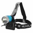 600lm 3-Mode White Flat Head Bike Light Headlamp - Blue + Silver (4 x 18650)