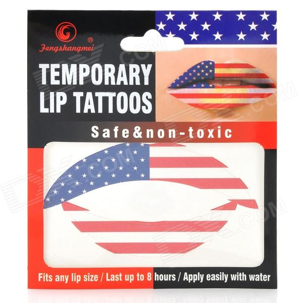 MG-1 Fashionable American Flag Pattern Temporary Lip Tattoos Stickers - Red + Blue + White бодиарт other gold placement temporary tattoos asos