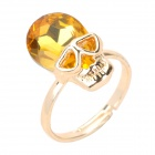 Italian Design MC Skull Head Style Zinc Alloy Rhinestone Ring - Golden + Yellow