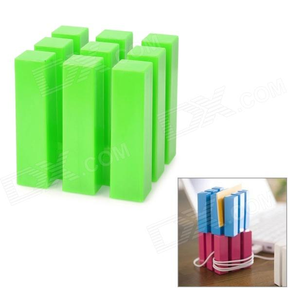 Multifunction 9-Column Cube Style Earphone Cable Cord Holder Wire Winder - Green cc 923 cable cord holder wire winder black white 6 pcs