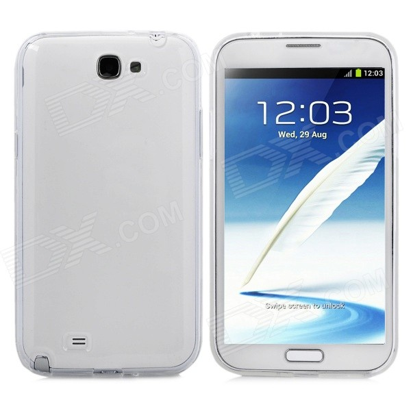 Protective TPU Back Case for Samsung Galaxy Note II N7100 - Transparent White protective pc tpu back case cover w stand for samsung galaxy note 4 transparent white