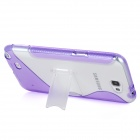 """S""-Style TPU + Plastic Back Case w/ Stand for Samsung Galaxy Note 2 / N7100 - Purple + Transparent"