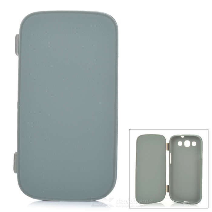 Protective Soft Plastic Flip-Open Case for Samsung i9300 - Grey protective flip open soft plastic case for iphone 4 4s light grey