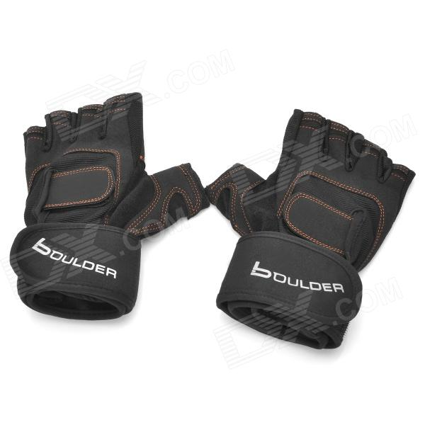 Boulder BRD201 Half-Finger Gym Training Gloves w/ Wrist Support Wrap - Black (2 PCS)