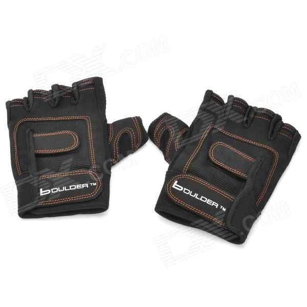 Boulder BRD203 Sports Gym Half-Finger Gloves - Black (2 PCS)