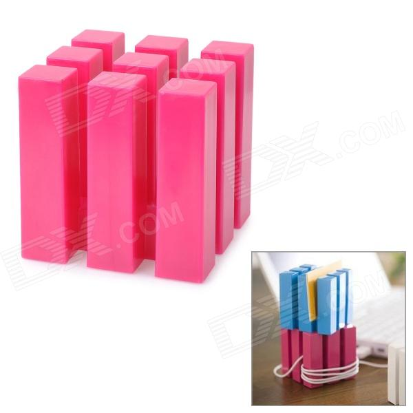 Multifunction 9-Column Cube Style Earphone Cable Cord Holder Wire Winder - Deep Pink multifunction cable trackers