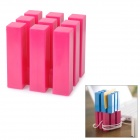 Multifunction 9-Column Cube Style Earphone Cable Cord Holder Wire Winder - Deep Pink