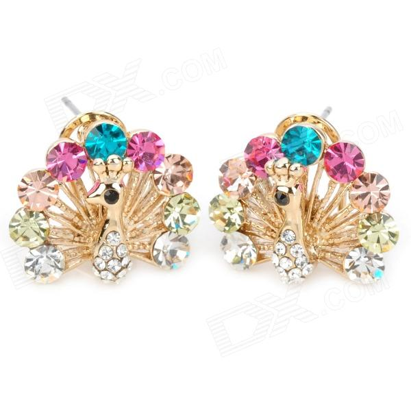 Shining Rhinestone Peacock Colorful Femininity Earrings - Golden (Pair) stylish shining rhinestone zinc alloy earrings golden