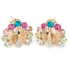 Shining Rhinestone Peacock Colorful Femininity Earrings - Golden (Pair)