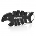 Munkees Aluminum Alloy Fish Bone Style Bottle Opener + Keychain - Black