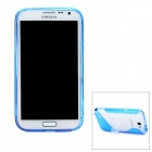 Protective Plastic Back Case w/ Stand Holder for Samsung Galaxy Note 2 / N7100 - Blue + Transparent